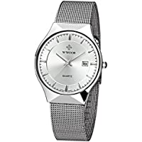Wwoor Men Steel Mesh Quartz Date Watches Ultra Thin Silver
