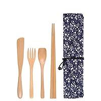 木の箸スプーンフォークはキャンプ、ピクニック、オフィスまたは家のための袋が付いている和風食器旅行道具を設定します 牵牛花布袋