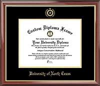 University of North Texas Mean Green–エンボスシール–マホガニーゴールドトリム–卒業証書フレーム ゴールド
