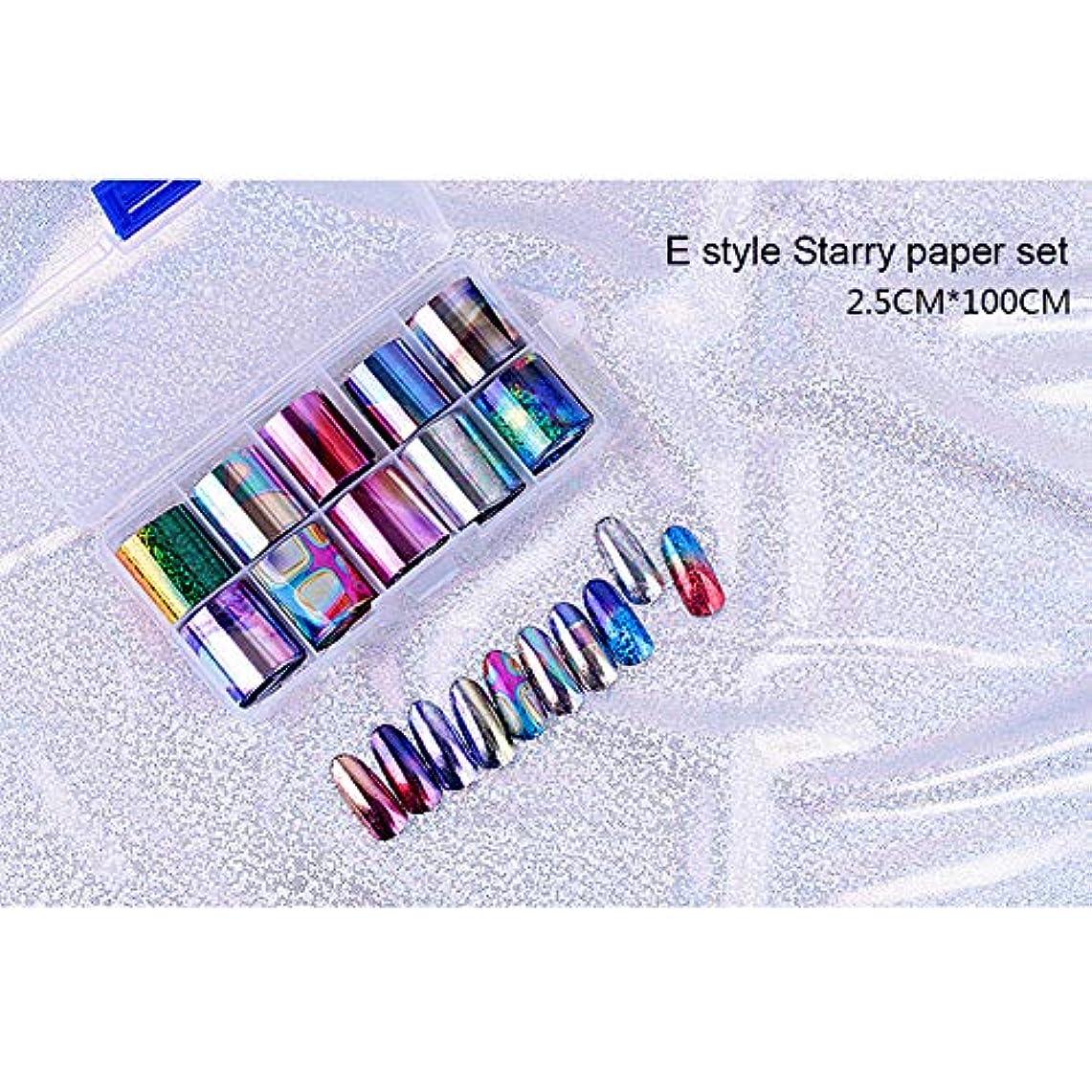 散文南東更新ACHICOO ネイルアートステッカー 10個 ネイルアート チップネイル ステッカーデカール DIY アクセサリー E style star paper set