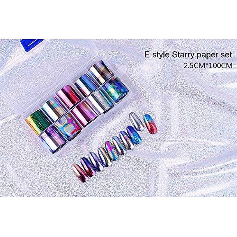 過去ポータル家主ACHICOO ネイルアートステッカー 10個 ネイルアート チップネイル ステッカーデカール DIY アクセサリー E style star paper set