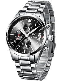 BaronsMate [公式] 腕時計 メンズ クロノグラフ 日本製クォーツ 防水 夜光 アナログ表示 (1.シルバー/メタルバンド)