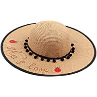 ed93b2ea10c0c SODIAL Ladies Sun Hat Summer Beach Straw Hat Letter Embroidered Sombrero  Sun Hat Wide Cap Foldable