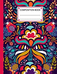 Composition Notebook: Composition Notebook Colorful flowers Cover, Wide Ruled Paper Notebook Journal, 120 Page
