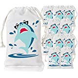 Shark Party Favor Bags Shark Goodie Drawstring Gift Bags for Kids Shark Party Supplies 10 Pack