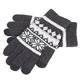 [FREESE] スマホ手袋 ニット編み グローブ 防寒 タッチパネル対応 秋冬 手袋 おしゃれ ノルディック柄 毛糸 起毛 (ダークグレー)