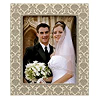 Grasslands Road Silver Damask Photo Frame, 8 by 10-Inch, Creme, Ceramic, Gift Boxed [並行輸入品]