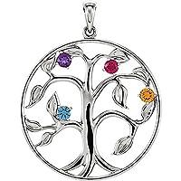 4石Your Tree of LifeペンダントネックレスカスタムMade for Your Family シルバー