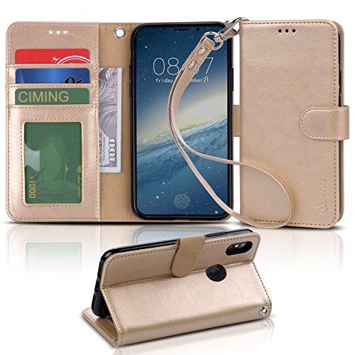 【Arae】 iPhone X ケース / iPhone X Edition ケース 手帳型「 スタンド機能 カードポッケト ストラップ」人気 おしゃれ 落下防止 衝撃吸収 財布型 おすすめ アイフォン X / アイフォン X Edition 用 ケース カバー (シャンパンゴールド)