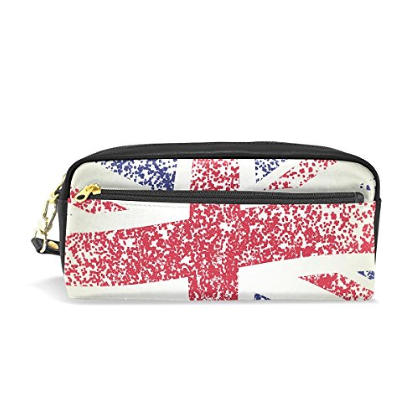 翻訳ありそう一ALAZA ユニオン ジャック 国旗 鉛筆 ケース ジッパー Pu 革製 ペン バッグ 化粧品 化粧 バッグ ペン 文房具 ポーチ バッグ 大容量