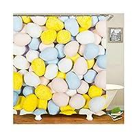 Aooaz シャワーカーテン 浴室 窓 お風呂 洗濯可能 防水 165x200CM 多色 卵形 ポリエステル製 シャワーカーテン