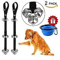 catoop Pottyベル犬Doorbells For犬トレーニング調整可能なドアベル子犬with折畳式ペットの猫犬ボウル ブラック AA137