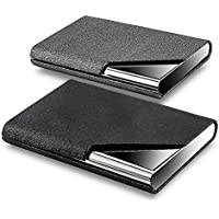 (Gray/Black) - KISSWILL Business Card Holder, 2 Pack PU Leather and Stainless Steel Business Card Case with Magnetic Shut, Business Card Wallet Credit Card Case for Men and Women (Grey/Black)