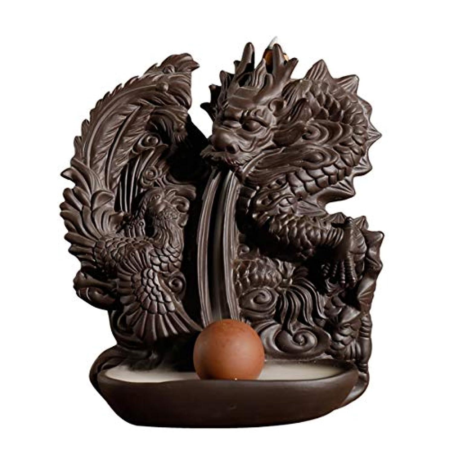 代表カートリッジ世論調査ドラゴン逆流香バーナー手作りセラミックドラゴン香ホルダービーズ香コーン理想的なギフト家の装飾