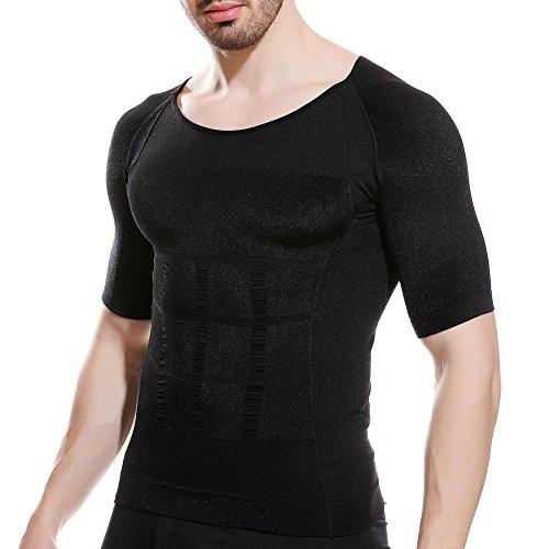 【強圧版】加圧シャツ メンズ 加圧インナー 半袖 加圧インナーシャツ コンプレッションウェアTシャツ 加圧トレーニングインナー Uネック M 黒