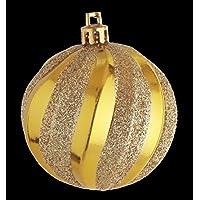MARUSHO 60mmストライプグリッターボール (1パック6ヶ入) クリスマスボール (ゴールド)
