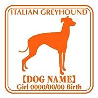 ワラ犬 イタリアングレーハウンド横向き ステッカー Eパターン ガールブラウン(茶色)