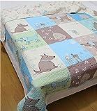 綿100%キルト可愛いペット模様ベッドカバー・ベッドスプレッド シングル