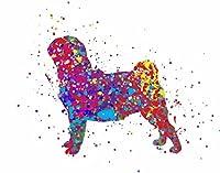 """Studio xstofer。。。パグ犬~水彩Splatter装飾アート印刷。 11""""×14"""" print ブルー"""