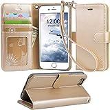 【Arae】iPhone6s ケース / iPhone6 ケース 手帳型「 スタンド機能 カードポッケト ストラップ」人気 おしゃれ 落下防止 衝撃吸収 財布型 おすすめ アイフォン6 / アイフォン6s 用 カバー ケース (シャンパンゴールド)