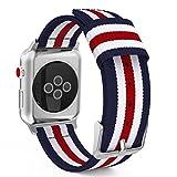 Apple Watch バンド - ATiC Apple Watch 42mm 44mm series 4/3/2/1用 編みナイロン製腕時計ストラップ/バンド/交換ベルト+バンドアダプター/交換ラグ 五縦縞Blue+White+Red (38mm 40mmに対応できない)