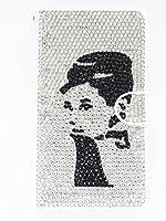 【Ai Mart】APPLE アップル iphoneXs Max(6.5インチ) 専用手帳型 デコ レザー ケース カバー ?2つ折 横開き ダイアリー式【フルダイヤ 人物柄 8】スタンド機能 カード収納可能 お財布機有り オリジナル ハンドメイド デコ電 ブランドロゴ入り保護フィルム付き!