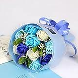 Arbeflo プレゼント 花束 フラワーギフト 手作り花束 石鹸花 プレゼント バレンタインデー 母の日 誕生日 結婚祝い 結婚記念日 (ブルー)