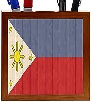Rikki Knight Philippines Flag on Distressed Wood Design 5-Inch Wooden Tile Pen Holder (RK-PH8770) [並行輸入品]