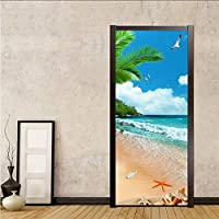 Mingld Pvc自己接着防水写真の壁紙3Dシーサイド風景ドアステッカーリビングルームの寝室の壁画壁紙用3D装飾-200X140Cm