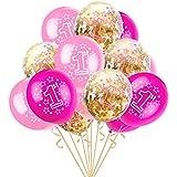 Eldori 15点セット 12  バルーン 結婚式 バレンタイン 飾り 誕生日 パーティー 飾り付け 吹雪入れ風船 セット おしゃれ ピンクゴールド フォトプロップス プロポーズ 記念日 お祝い 告白 バレンタイン応援 サプライズ 装飾 安い 飾りセット 吹雪入れ風船 Foil Latex Confetti Balloon Baby One Year Old Happy Birthday Party (A)