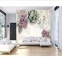 Wuyyii カスタム壁紙壁画写真ヨーロッパレトロ三次元フラワーソファテレビの背景壁絵画3Dの壁紙-450X300Cm