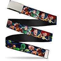 Buckle Down Boys Web Belt-Toy Story Characters Running Denim Rays