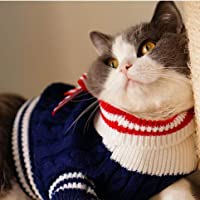 小猫のペットのための暖かい冬の秋海軍スタイルのペットの猫セーター子犬ジャンパーニットセーターのコート犬服:ブルー、M