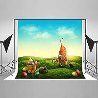 ケイトHappy Easter写真Backdrops写真背景Spring Grassカラフルな卵Studio Backdrop Studio小道具