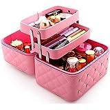 持ち運びできる メイクボックス 大容量 取っ手付き コスメボックス 化粧品収納ボックス 収納ケース 小物入れ (ライトピンク)