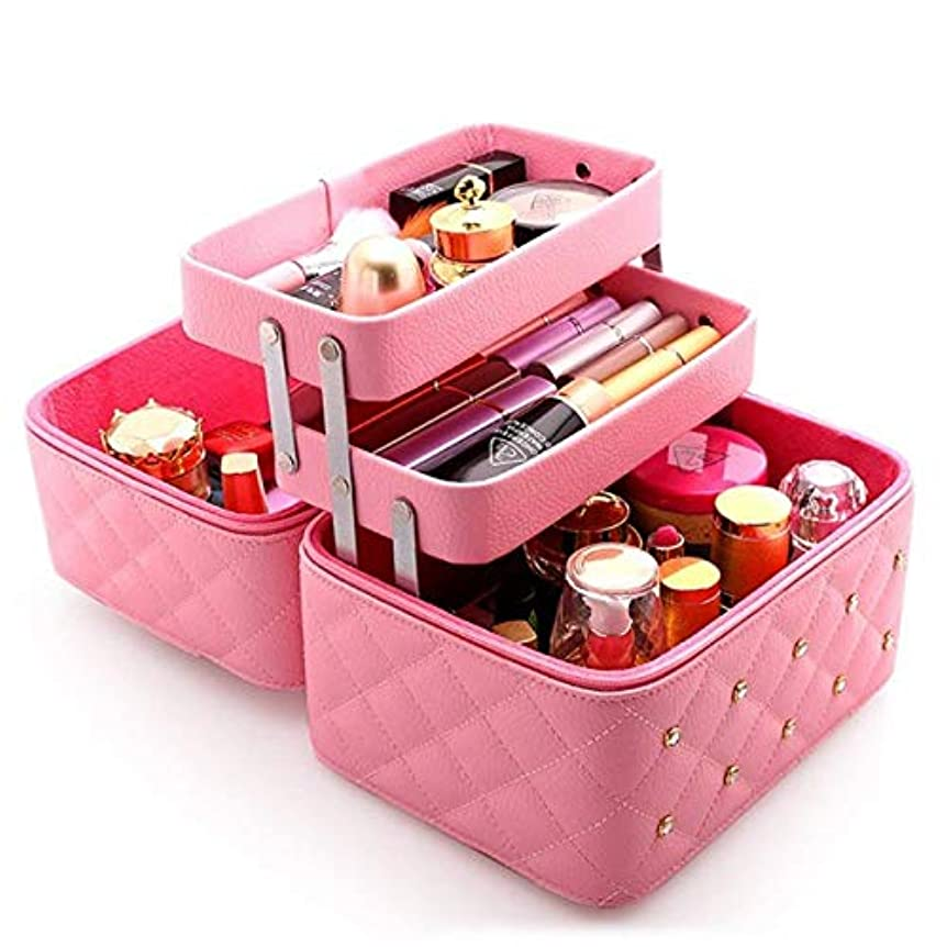 グリットレンズ我慢する持ち運びできる メイクボックス 大容量 取っ手付き コスメボックス 化粧品収納ボックス 収納ケース 小物入れ (ライトピンク)