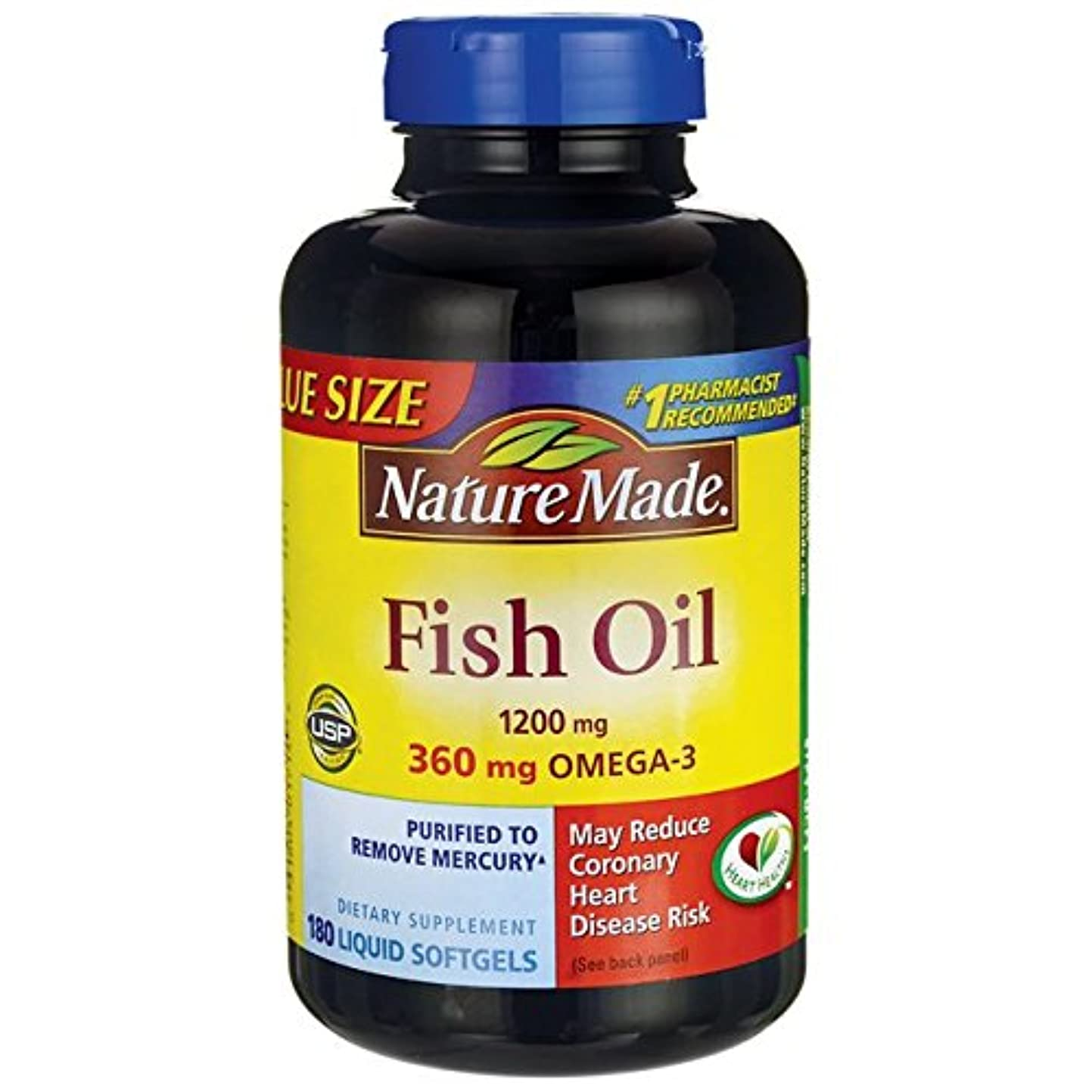 遅らせる工夫する動力学Nature Made Fish Oil Omega-3 1200mg, (180 Liquid Soft Gels) by Nature Made