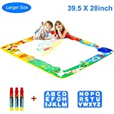 "Aquadoodle Mat, Kids Toy Large Water Doodle Mat 39.5"" X 28"" 3 Magic Pens 2 Drawing Molds, Kids Educational Learning Toy Gift Boys Girls Toddlers Age 2 3 4 5 6 Years Old Toddler Toys"