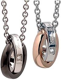 [ ホワイトクローバー ] 「抑えられない燃えるような恋」 メッセージ ダイヤモンド 2連 ステンレス ペアネックレス/ゴールド & ブラック 4SUP003GO & 4SUP003GU