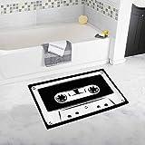 オーディオカセットテープの面白いシルエット家の装飾ノンスリップバスラグセットバスルーム浴槽寝室用吸収性フロアマット