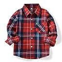 (オチェーンタ)OCHENTA 子供用 ボーイズ ガールズ 男の子 女の子 長袖 チェック柄 カジュアル シャツ キッズシャツ チェックシャツ ワイシャツ Yシャツ E002 レッド 140CM