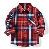 (オチェーンタ)OCHENTA 子供用 ボーイズ ガールズ 男の子 女の子 長袖 チェック柄 カジュアル シャツ キッズシャツ チェックシャツ ワイシャツ Yシャツ E002 レッド 100CM