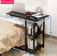 パソコンデスク ベッドサイドノートブックコンピュータデスク寝室家庭用ベッドテーブルシンプルな机学生シンプルな携帯小さなテーブル (色 : A)