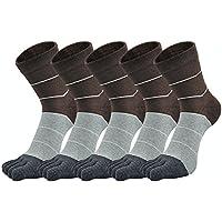 YADO 五本指ソックス メンズ ハイソックス ビジネスソックス 抗菌防臭 5足セット 24-28cm 黒 灰色 茶色