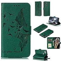 に適しています Googleのピクセル3A XL(赤)のために財布&ホルダー&カードスロット付き電話ケースフェザー柄ライチテクスチャ水平フリップレザーケース 贈り物をする (Color : Green)