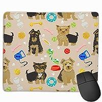 おもちゃ、ヨークシャーテリア、ヨークシャーテリア、かわいい犬マウスパッド滑り止めカスタムコンピュータ用ラップトップ家庭用およびオフィス用9.8 x 11.8インチ