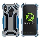 iPhoneX ケース Feitenn アルミニウム合金 ケース メタルバンパー 耐衝撃 全面保護 軍用最強ケース ファッション (iPhoneX, ブルー)