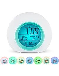 目覚まし時計 Ninonly アラーム スヌーズ機能付き 自然音 七色変換 バックライト LEDデジタル温度 カレンダ 卓上インテリア コンパクト 音量調節可能 プレゼントに最適 寝室 室内用