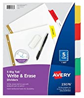 (48-pack, 5 Tab) - Avery Big Tab Write & Erase Dividers, 5 Multicolor Tabs, Case Pack of 48 Sets (23076)