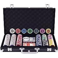 Costway ポーカーセット カジノチップセット カジノゲーム ポーカーゲーム Casino Game poker set 300枚チップ アルミ製キャリーケース付き トランプ付き (300枚 / ブラック)